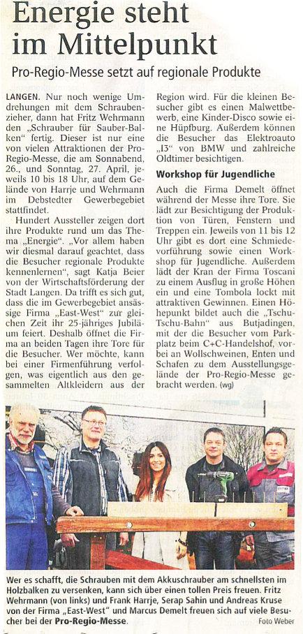 Demelt Energie Nordseezeitung 16.04.2014
