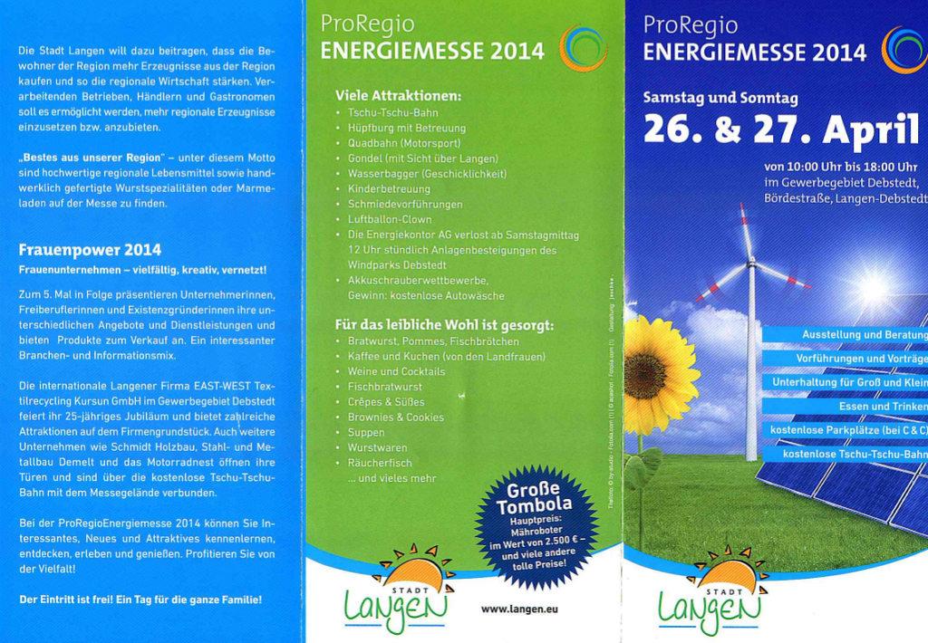 flyer proregio energiemesse 2014